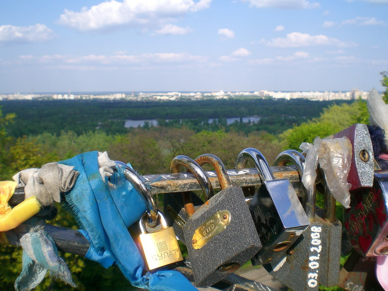 "Locks hang on the ""Bridge of Love"" in Kiev."